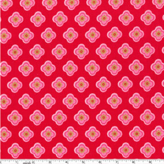 SALE Pillow and Maxfield Ooh, La La Petite Fleur Red Michael Miller Fabric, 1/2 Yard