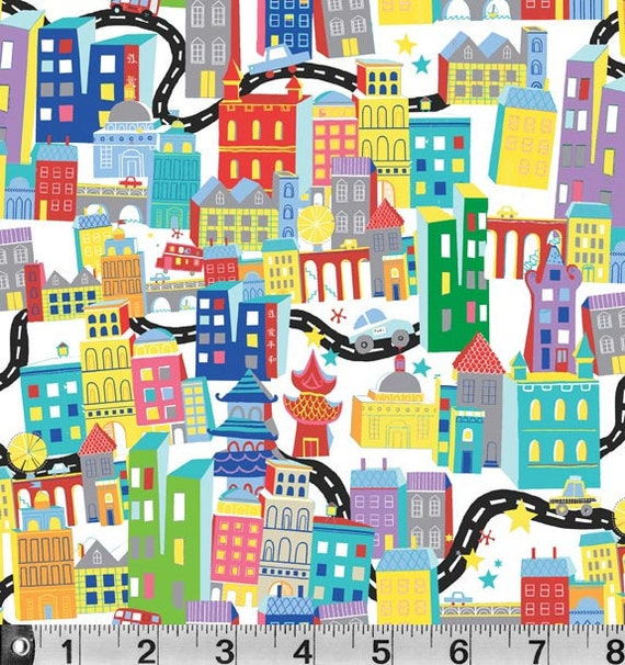 What a World   Cityscape White  Jill McDonald Fabric by the Yard, Sale