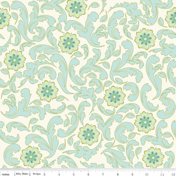 Verona Damask Teal  by Emily Taylor Riley Blake Fabrics by the Yard