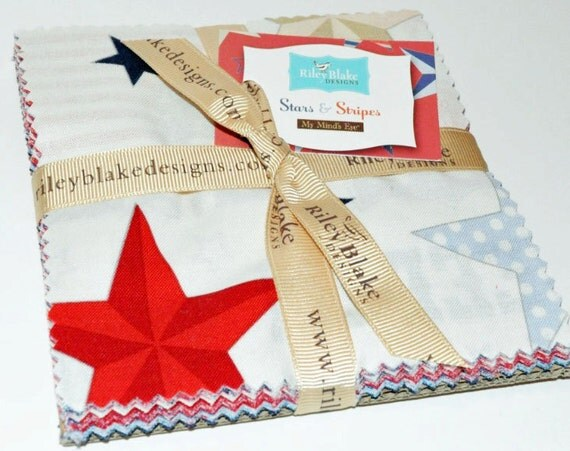 Stars and Stripes Charm Pack by Deanna Rutter Riley Blake Designs   -   24  Five Inch Squares