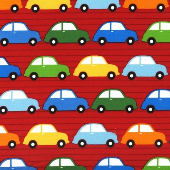 City Centre Red Stacked Cars VW Bugs by Print and Pattern Robert Kaufman Fabric 1/2 Yard SALE
