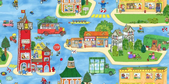 Busytown A to Z  Village Scenic Blue Richard Scarry Fabrics 1/2 yard