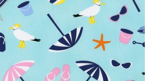 It's a Shore Thing Fabric by Dear Stella,  Beach Fun Aqua,  Designer Fabric by the Yard, Sale