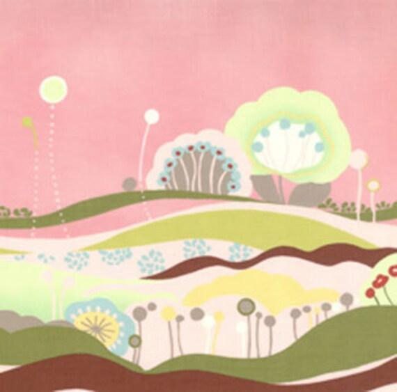 Hunky Dory Border Pink by Chez Moi Moda Designer Fabric, 3/4 yard, Sale