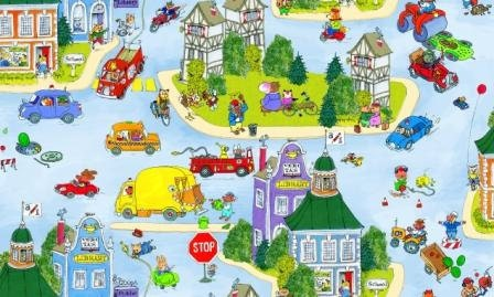 Richard Scarry Busytown Fabric On The Move Busy Town Scenic