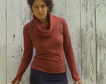 ORGANIC Chunky Cowl Darjeeling Shirt ( organic hemp and cotton fleece ) - organic hemp shirt