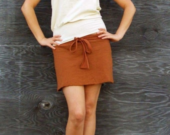 Organic Simplicity Wrap Mini Skirt (light hemp and organic cotton knit) - organic wrap skirt
