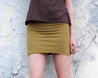 Organic Pencil Mini Skirt (light hemp/organic cotton knit)