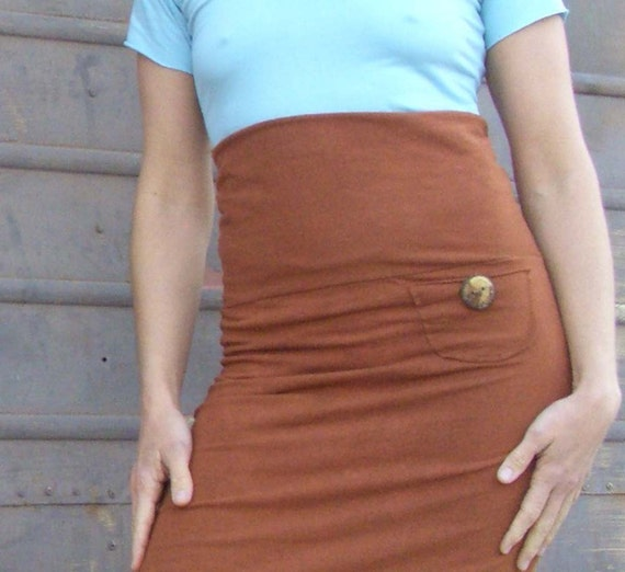 Hot Pocket Pencil Skirt (stretchy hemp/organic cotton lycra)