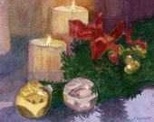 Framed Home for the Holidays watercolor painting candles balsam original