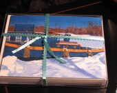 Tugboat Canal winter scene cards boxed.  Set of 10 cards with Envelopes.