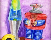 Robot Panapet Lava lamp Retro Toys Fine Art Reproduction of my Watercolor painting 8 X 10