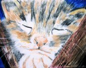 Sleeping Kitten Color Pencil ACEO Reproduction Sweet Cat 2.5 X 3.5