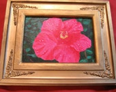 SALE Pink Hibiscus Original acrylic painting Framed 5x7 Canvas Board