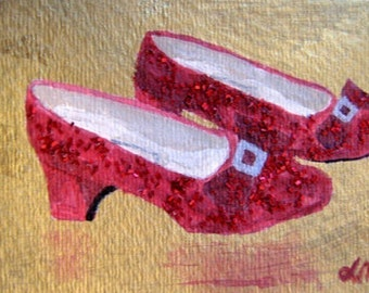 Ruby Slippers Wizard of OZ ACEO Reproduction acrylic glitter 2.5 X 3.5