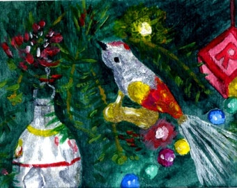 Vintage Ornaments ACEO Glass Bird Christmas Reproduction