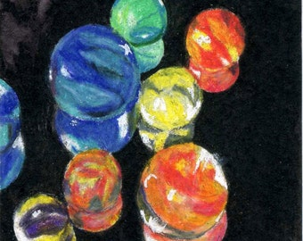ACEO Still Life Colorful Marbles Reflections Reproduction