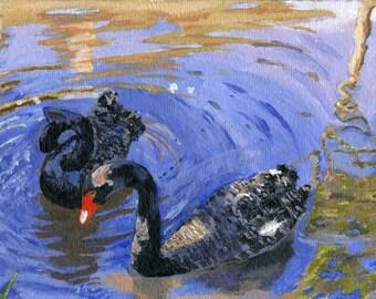 Black Swan acrylic painting reproduction 5 X 7 Hawaii