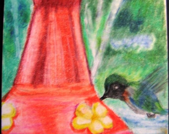 Hummingbird at the Feeder Print ACEO Color Pencil Summer Scene
