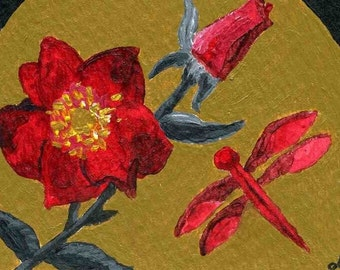 ACEO Dragonfly Rose Feng Shui acrylic painting Fine Art reproduction