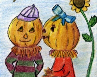 Halloween Pumpkin Love ACEO Print Color Pencil Painting 2.5 X 3.5