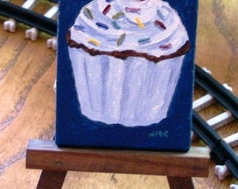 Fun Cupcake acrylic on canvas with wooden display easel 2.5 x 3.5