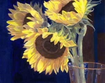 Yellow Sunflowers Still life acrylic tablescape 9 x 12 giclee reproduction print