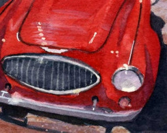 ACEO Vintage red  Roadster watercolor painting reproduction car