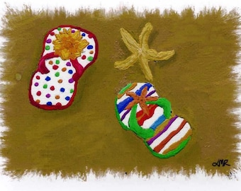 Flip Flops Beach ACEO Digital Hand Painted Art