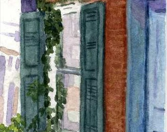 ACEO watercolor Ivy covered window reproduction brick building