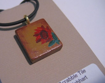 Red floral hand painted Scrabble Tile pendant w/ cord Tan Burgandy
