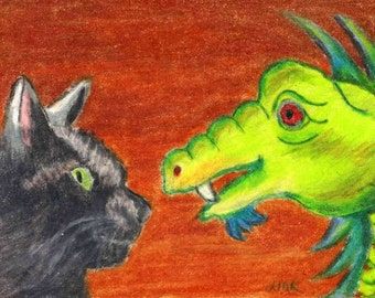 ACEO Cat Dragon Friends Colored Pencil Painting Original