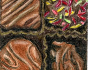 Chocolate Truffles ACEO Color Pencil reproduction 2.5 X 3.5