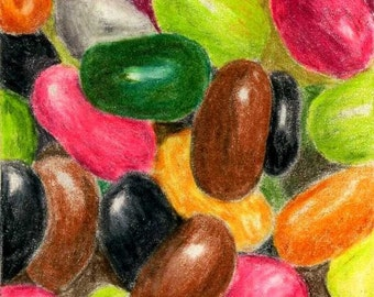 Colorful Jelly Beans ACEO Fine Art Reproduction Fun 2.5 X 3.5