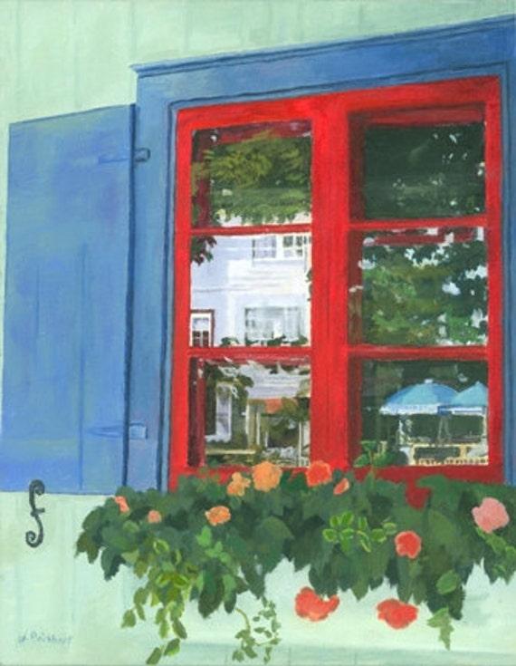 WIndow Pane Reflections acrylic painting Giclee Reproduction 12x9