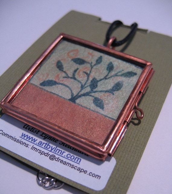 Tree of Life Copper Green Hand Painted Insert Locket Pendant