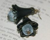 SALE Dark Flower Lucite Earrings