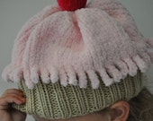 Fuzzy Baby Pink Baby Cupcake Hat with Pink Cherry (2-5 years)