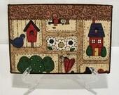 Quilted Postcard, Fabric Postcard, Mini Art Quilt, Birdhouses