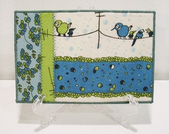 Quilted Postcard, Fabric Postcard, Mini Art Quilt, Birds on a Wire