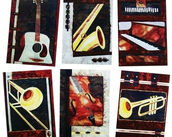 Notecard Set, Blank Cards, Set of 6 Cards, Stationary, Any Occasion Cards, Greeting Cards, Quilt Cards, Jazz Musical Instruments