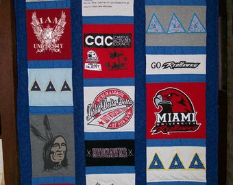 Custom T-shirt Quilt made with your 16 t-shirts
