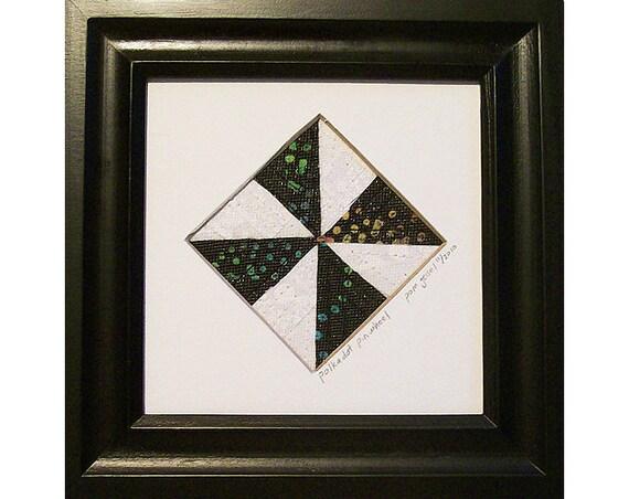 Mini Art Quilt, Framed Abstract Quilt, Fabric Mosaic Polka Dot Pinwheel