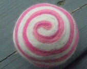 One multi-colored felted pin-cushion, White and Pink