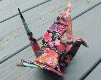 Large Fancy Origami Crane Black, Pink & Gold with Flowers
