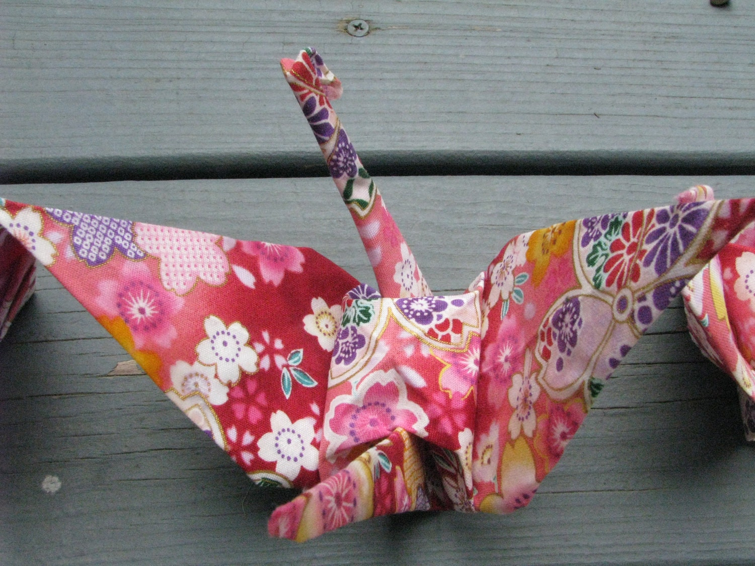 Large Fancy Origami Crane Light purple and pink with Flowers - photo#23