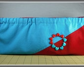 Turquoise Red Hand Beaded Canvas 16 inch Hex Snap Frame Clutch Purse Hearts