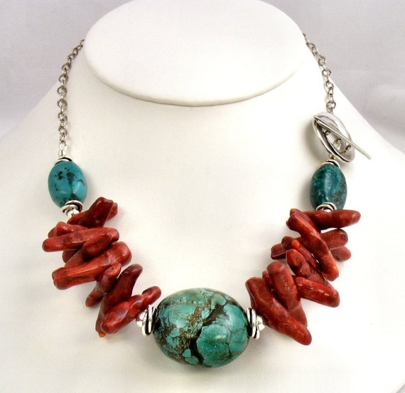 Turquoise & Sponge Coral Beaded Necklace