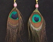 Vintage Feather Earrings, Peacock Feathers, 1970s 70s