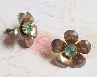 Vintage Flower Earrings, Floral Earrings, Sterling Silver Earrings, Gold Wash Earrings, Vermeil Earrings, 40s Jewelry